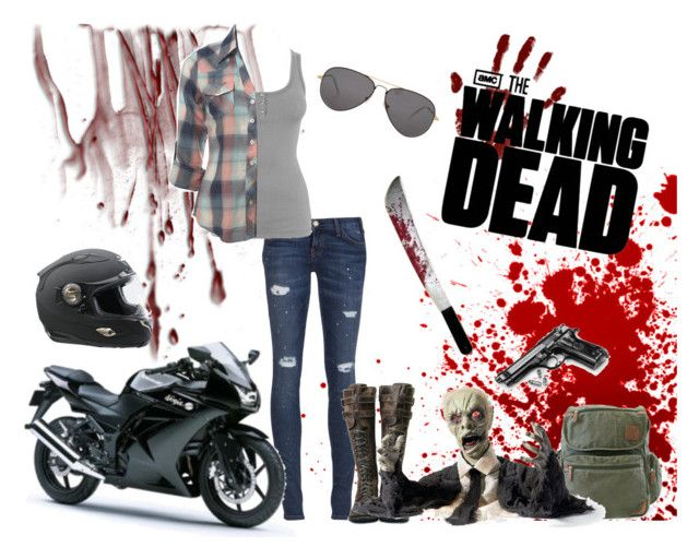 """The Walking Dead"" by kerstinxx ❤ liked on Polyvore featuring Current/Elliott, Miss Selfridge, Field & Stream, Sheriff&Cherry, Kawasaki, women's clothing, women, female, woman and misses"