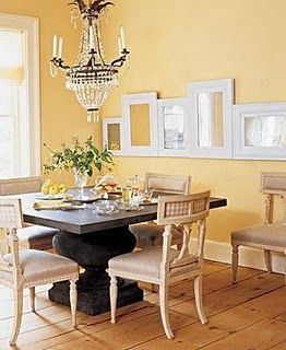 A Yellow Dining Room Interesting Mirror Frame Layout Too
