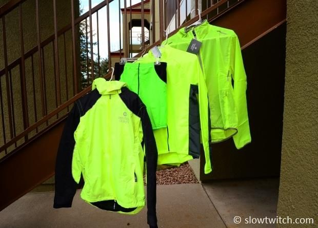 Aero Tech is a small clothing manufacturer based in Pittsburgh, PA. From left-to-right: IllumiNite Reflective Waterproof Rain Switchback jacket. Full reflective piping and sleeves; removable hood and sleeves Men's High Performance Exercise Short. Men's Formaggio Long Sleeve Fleece Cycling Jersey Full Zip. 3 rear pockets, full zipper, super soft. ATD Windbreaker Jacket Visibility Yellow. Light wind jacket for cycling or running.