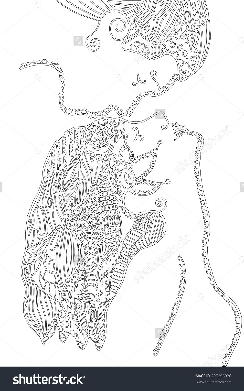 Man Kissing Woman\'S Forehead, Zentangle Style, Flower, Leafs, Vector ...