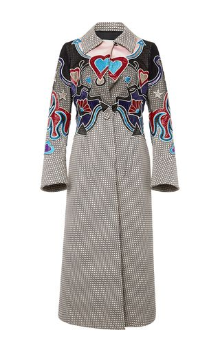 Oliver Houndstooth Embroidered Coat by MARY KATRANTZOU for Preorder on Moda Operandi