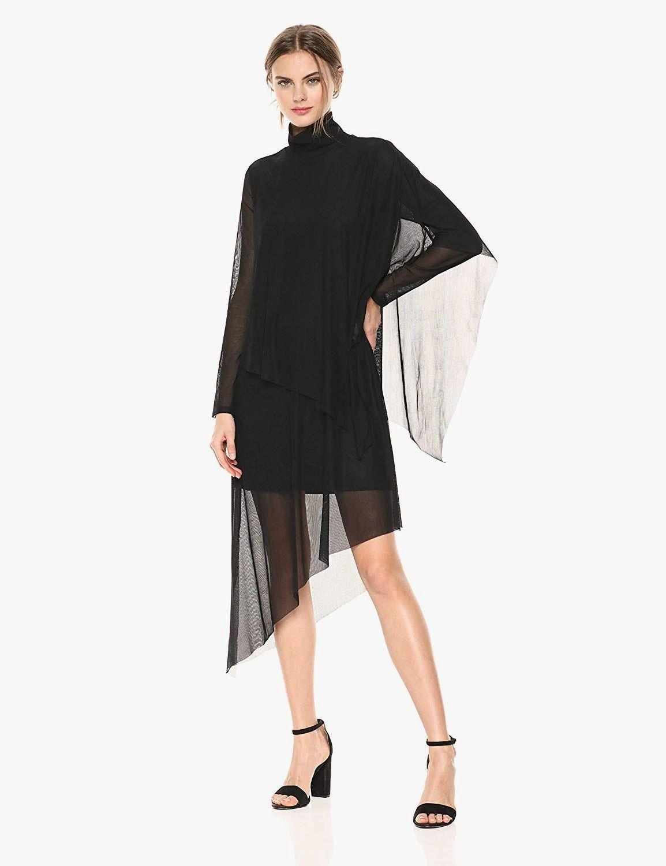 Fluid asymmetrical draping brings elegant movement to