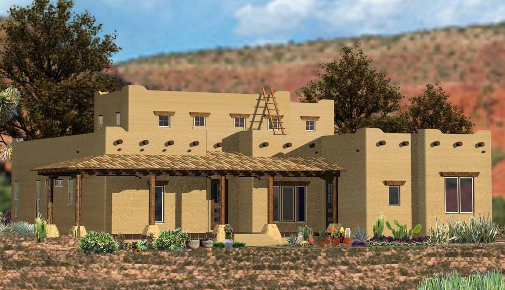 Plan 15896ge Southwestern Home With Angled Family Room Southwestern Home House Plans Best House Plans