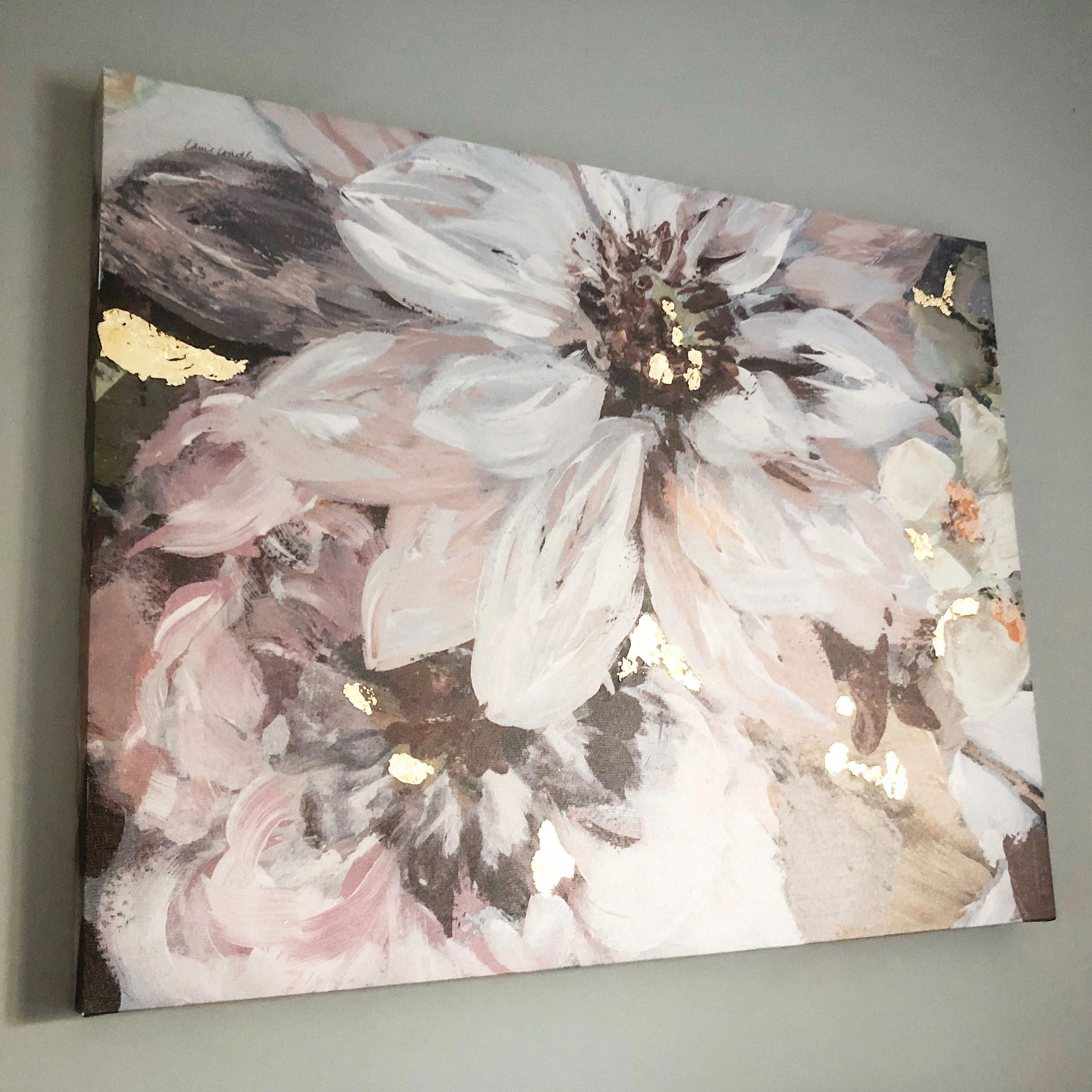 Beautiful Blush And Grey Floral Canvas With Rose Gold Leaf Accents