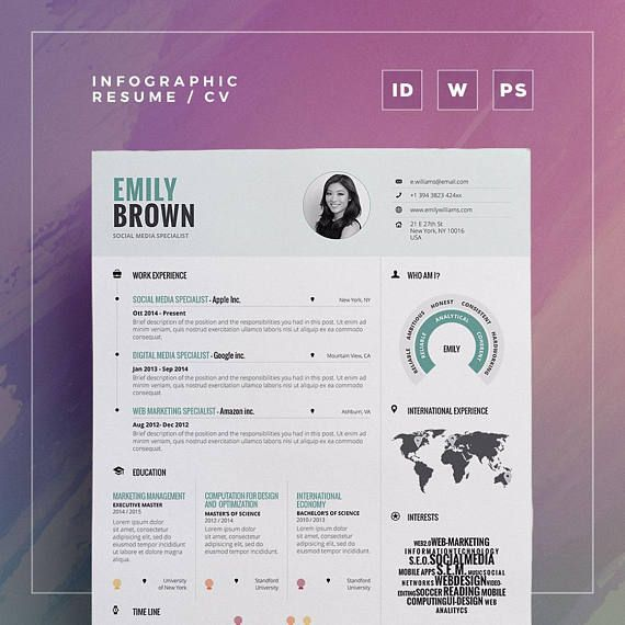 Infographic Resume Vol  Word Indesign And Photoshop Template