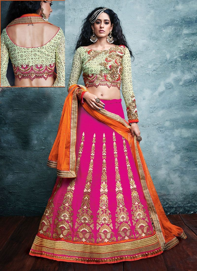 bd25f9b143 True splendor comes out from your dressing style and design with this hot pink  art silk a line lehenga choli. This stunning dress is showing some amazing  ...
