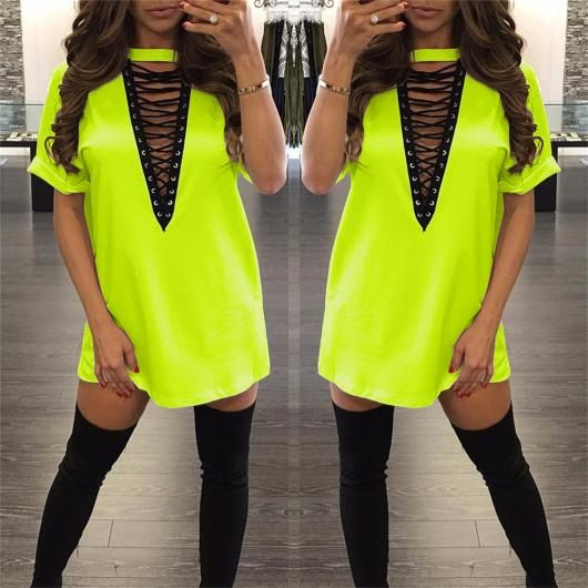 6c93bfaac Roupa para festa neon vestido curto