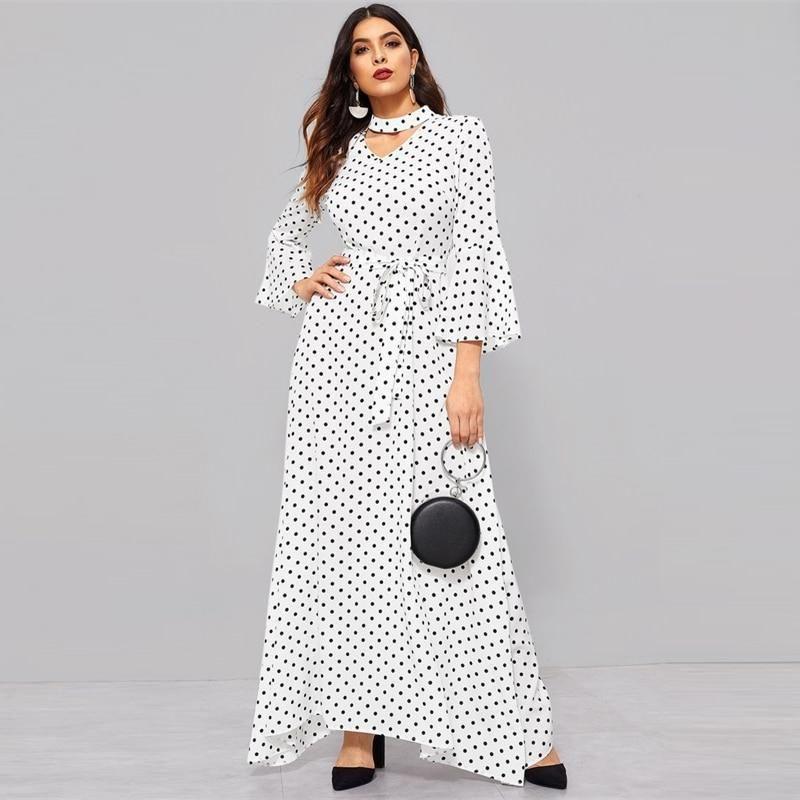 Vintage Flounce Sleeve V-Cut Chocker Neck Polka Dot Ruffle Women Dress -  White 1f7330e27c5b