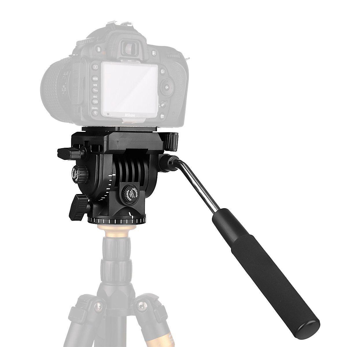 Pangshi Video Camera Tripod Action Fluid Drag Pan Head For Canon Nikon D3300 Kit 18 55mm Vr Hitam Sony Dslr Camcorder