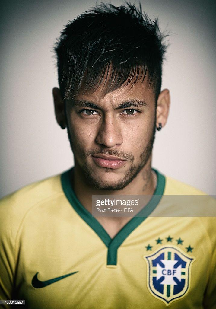 Neymar Of Brazil Poses During The Official Fifa World Cup 2014 Neymar Neymar Brazil Soccer Players