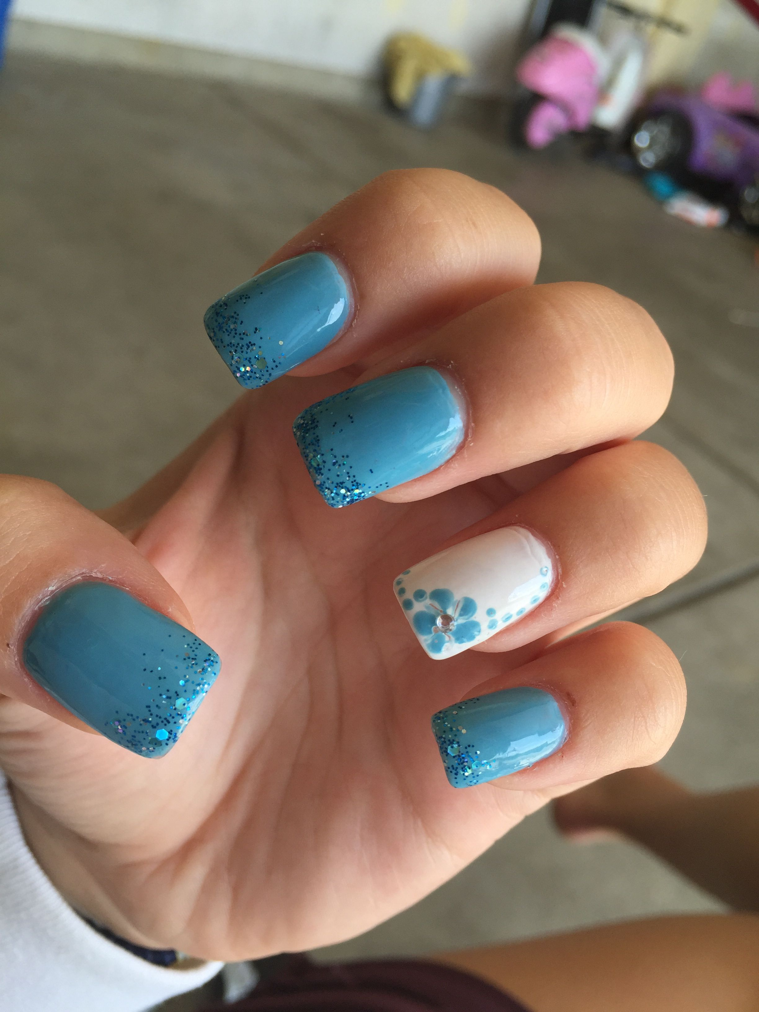 Blue Summer Acrylic Nails Nails Summer Acrylic Nails Manicure
