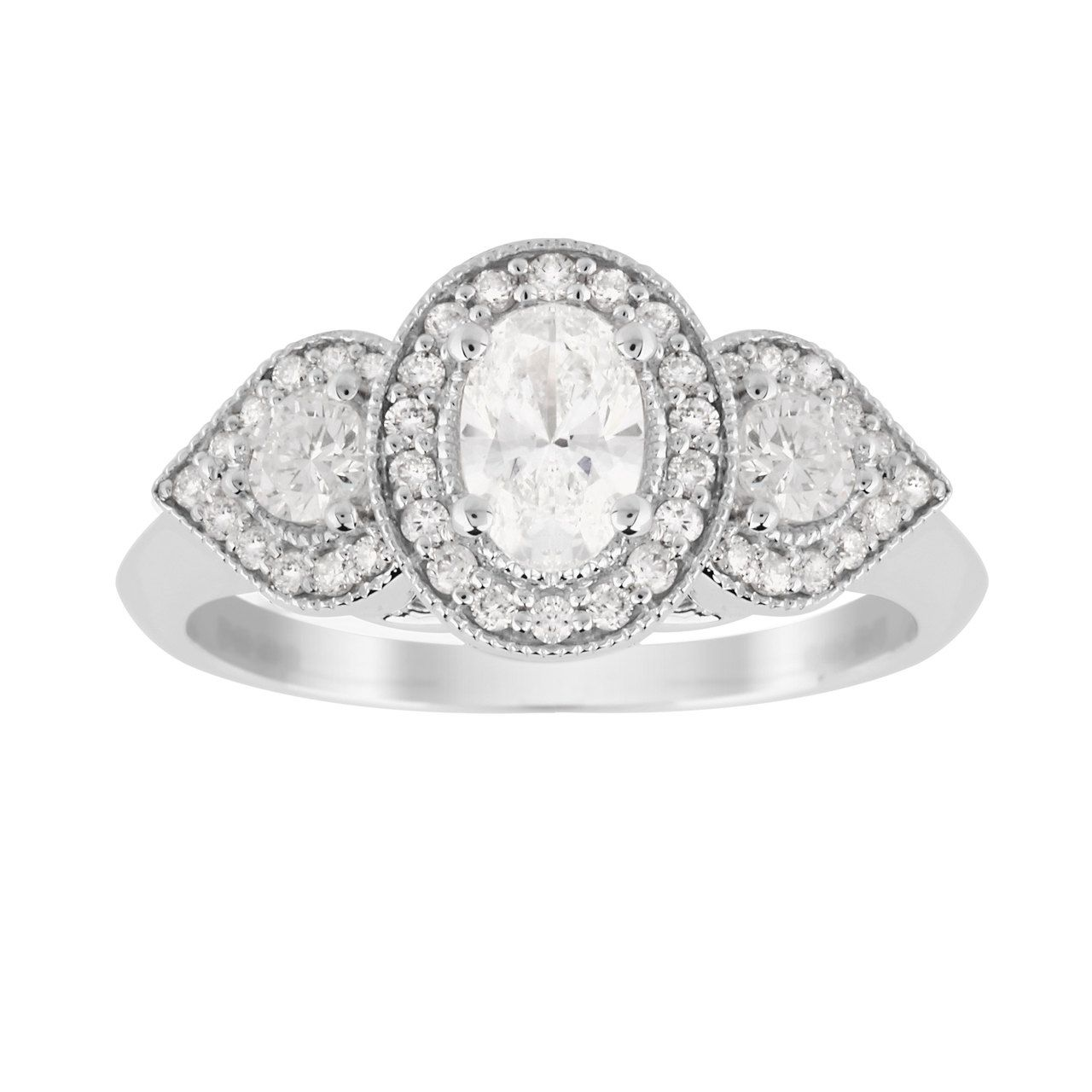 Jenny Packham Three Stone Brilliant Cut Carat Total Weight Diamond Art Deco  Style Ring in 18 Carat White Gold - Ring Size J