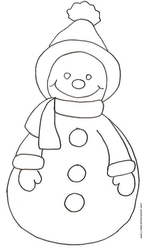 Coloriage du bonhomme de neige dessin 27 t te modeler illustrations snowman and noel - Coloriage tete a modeler ...