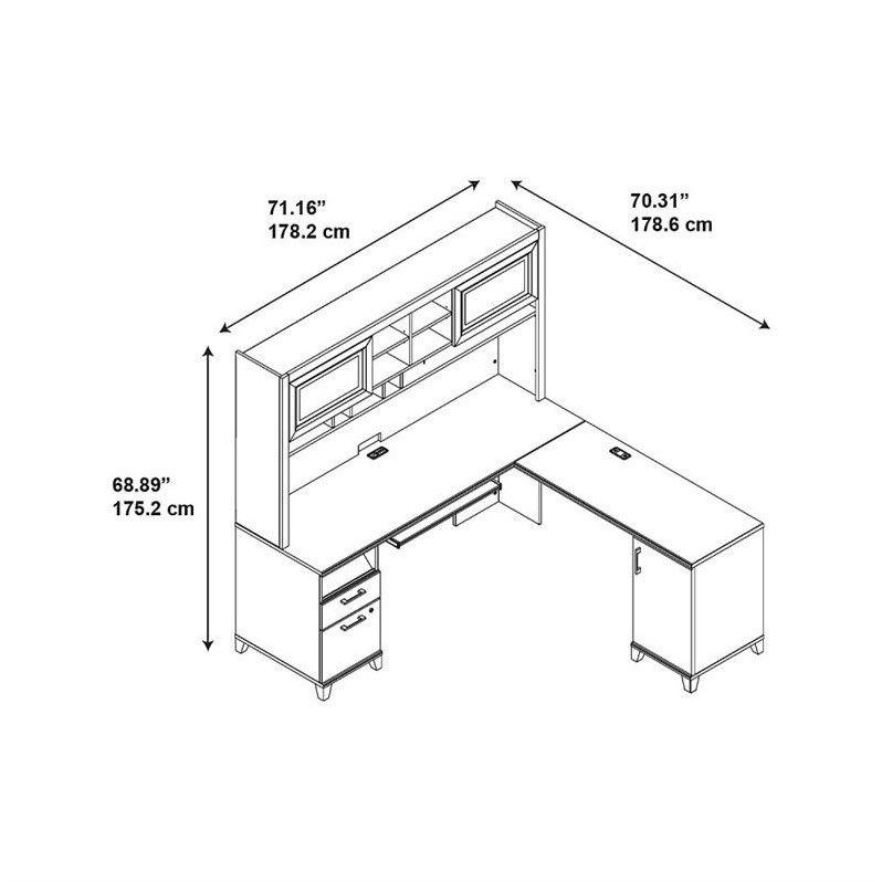 Bush Furniture Achieve L Shaped Desk with Hutch in Sweet