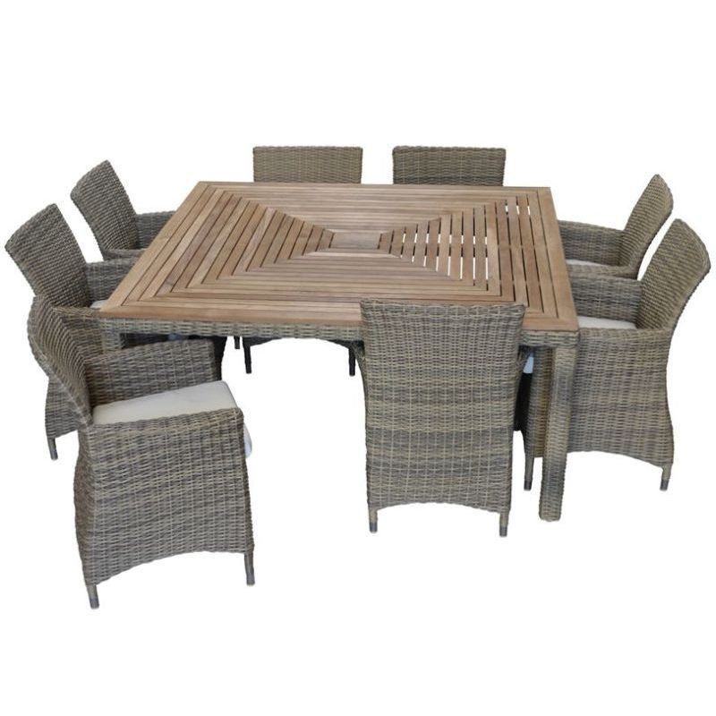 Sahara Outdoor Square 8 Seat Dining Set In Wheat Rattan Wicker