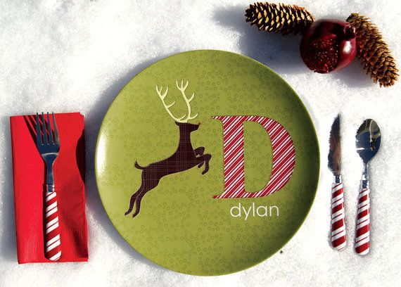 Personalized Boy Holiday Plate Deer by Dylbug on Etsy, $20.00