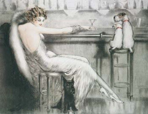 Girl Lady Having a Drink Bar Cafe by Louis Icart Fine Deco Art Repro FREE SH