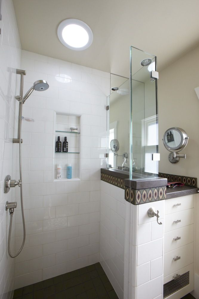 light with stall tube in dark bathroom glassed shower a pin upgraded