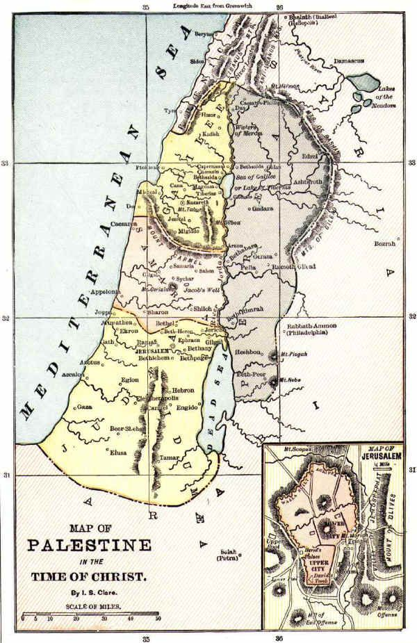 Bible map of the Holy Land in times of Jesus Christ from