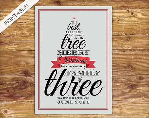 Typographic Red Christmas Tree Pregnancy Announcement - Holiday ...