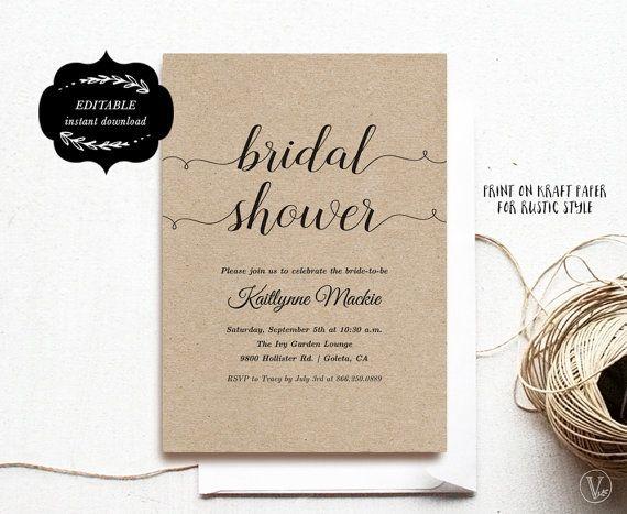 Bridal Shower Template Printable Bridal shower by VineWedding - bridal shower template