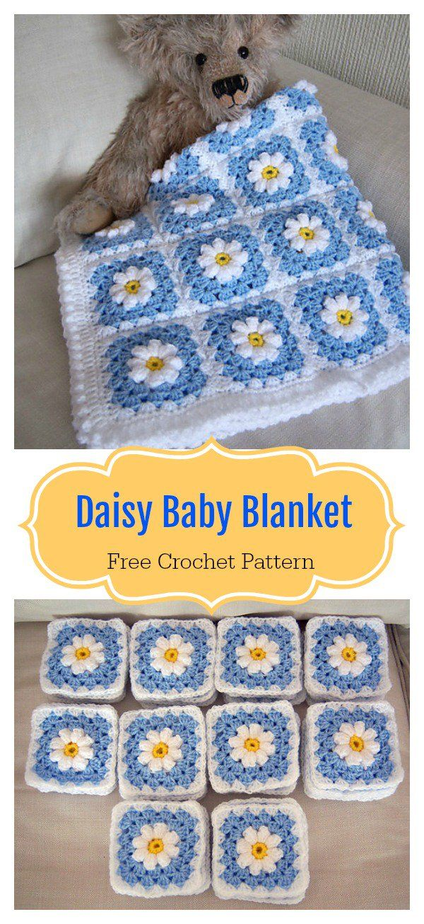 Daisy Granny Square Baby Blanket Free Crochet Pattern | Crochet and ...