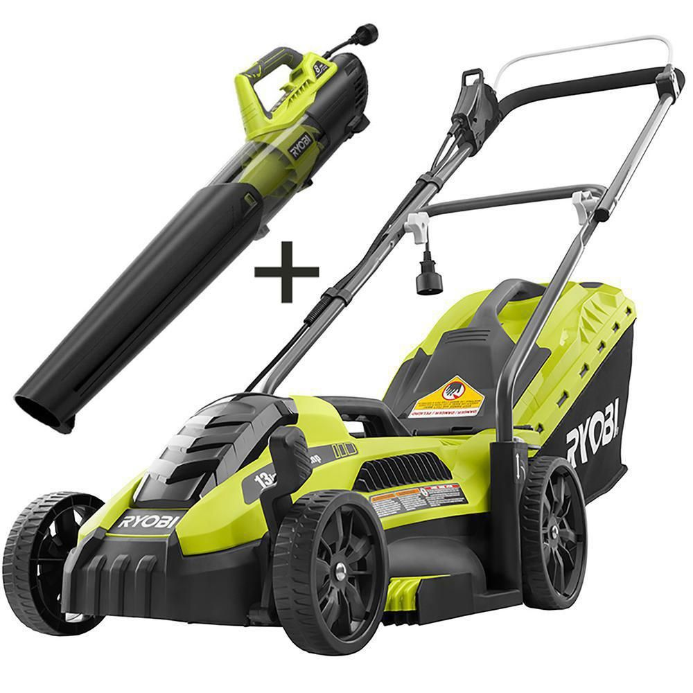 Ryobi 13 In 11 Amp Corded Electric Walk Behind Push Mower And 8 Amp Electric Jet Fan Blower In 2020 Push Lawn Mower Walk Behind Mower Lawn Mower