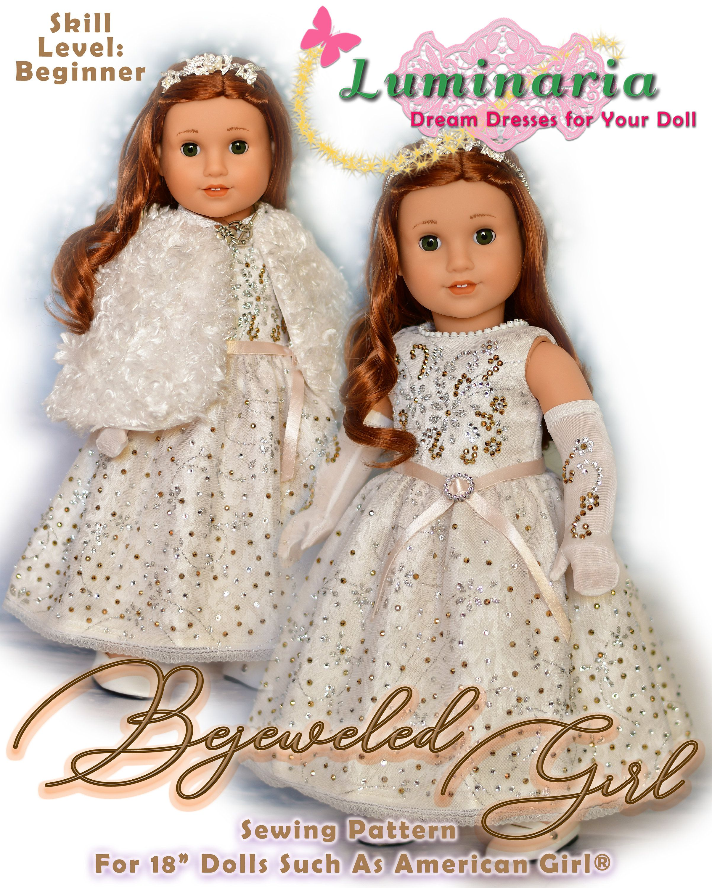 18 Inch Doll Clothes Pattern Fits 18 American Girl Gala Holiday Christmas Formal Dress & Cape Gown by Luminaria Designs Swarovski Inspired #18inchdollsandclothes