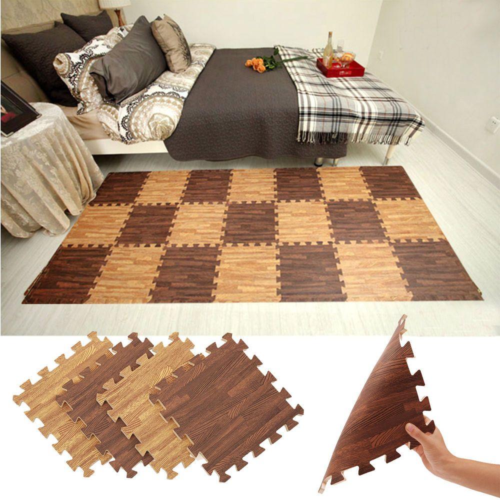 "11.81x11.81"" EVA Foam Floor Carpet Wood Grain Gym Exercise"