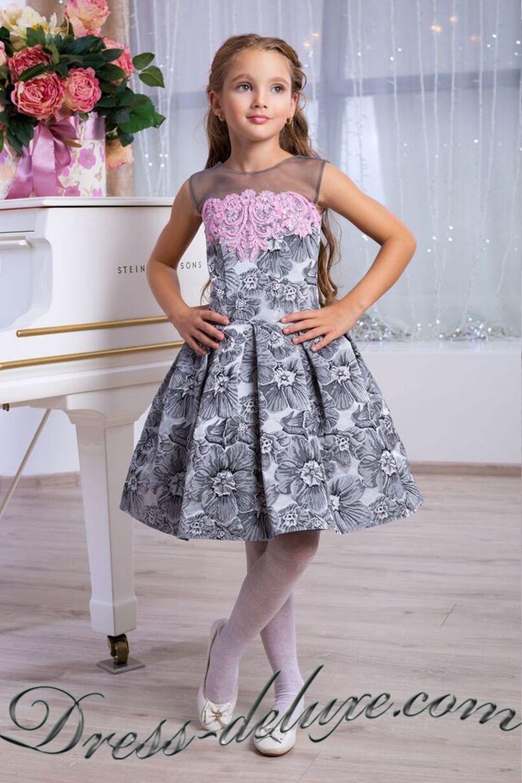 a2c7639de Платье Стефания. Цвет серый/розовый. - Детские нарядные платья ...
