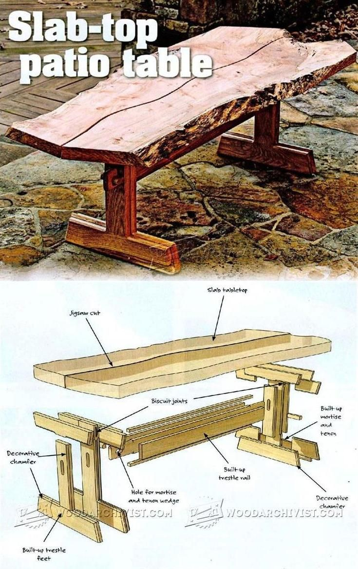 Slab Top Patio Table Plans Outdoor Furniture Plans Projects