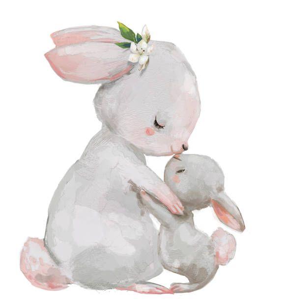 Download Cute Cartoon Hares Mom And Kid Kissing Arte Bebe Desenhos Animados Bonitinhos Poster Para Criancas