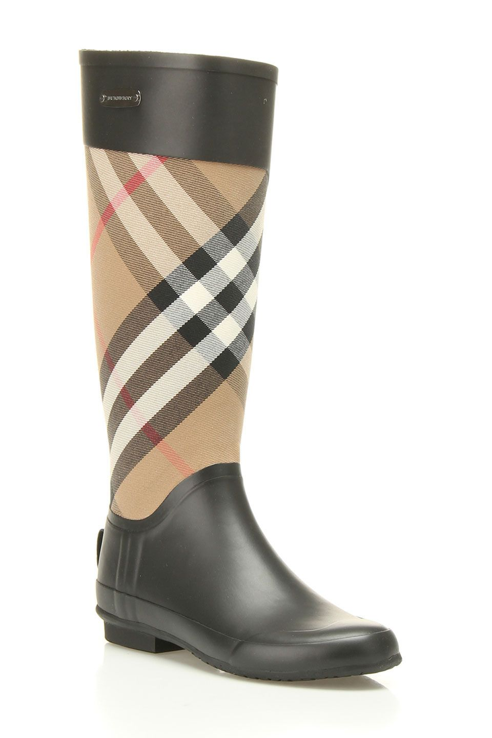 Burberry Clemance Rain Boots In House Check & Caramel - Beyond the Rack