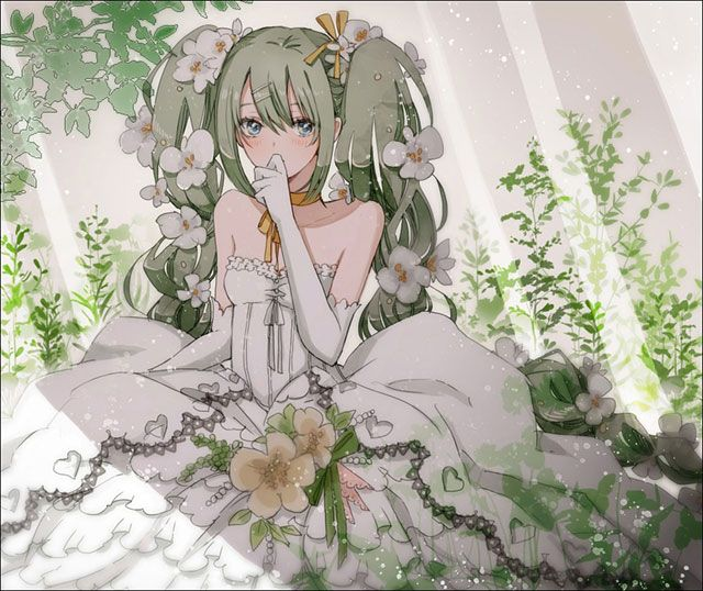 ウエディングドレスを着て木陰で座るミクの綺麗なイラスト壁紙