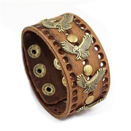 Cool Eagle Pattern Rivet Cow Leather Charm Bracelets