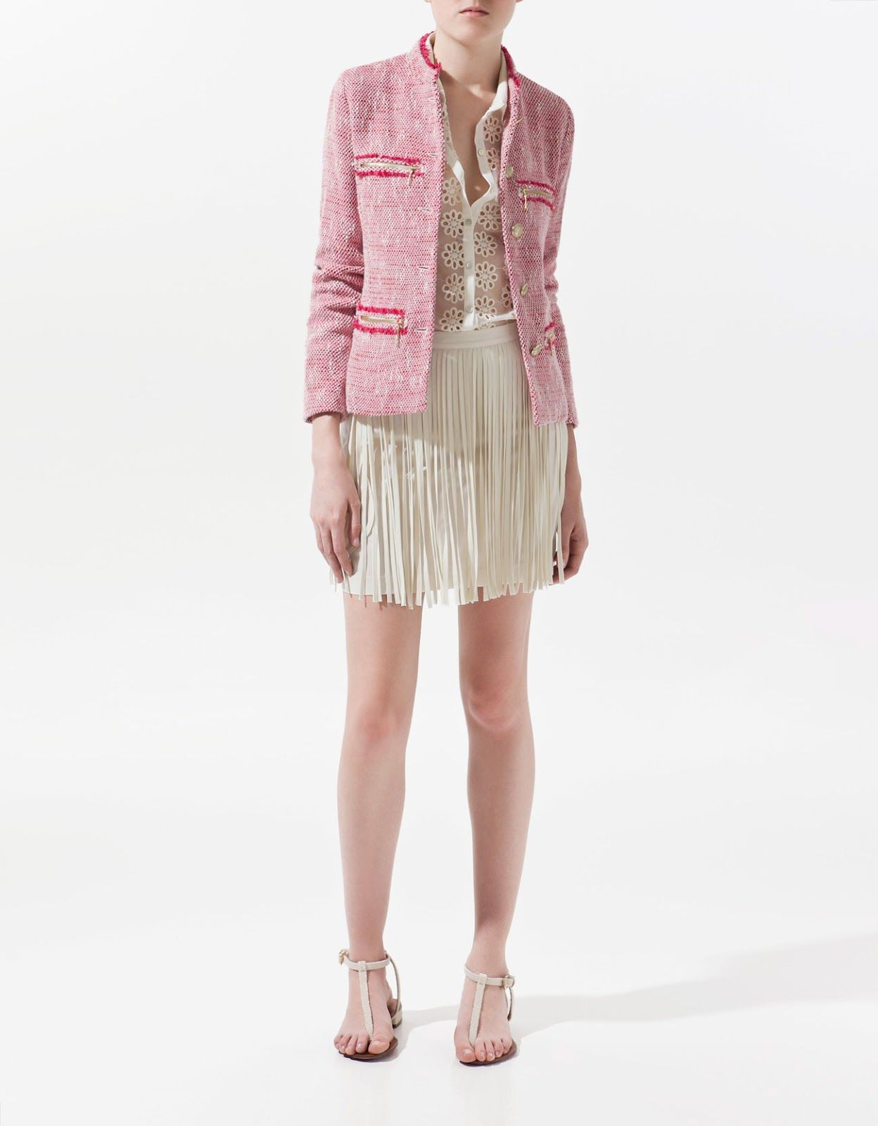 7e0b11c6f0b6 NWT ZARA Pink Boucle Tweed Chanel Military Gold Button Blazer Jacket ...