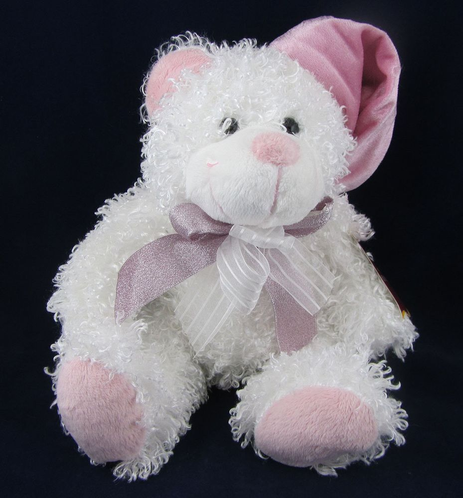 Walmart White Curly Haired Plush Stuffed Animal Bear With