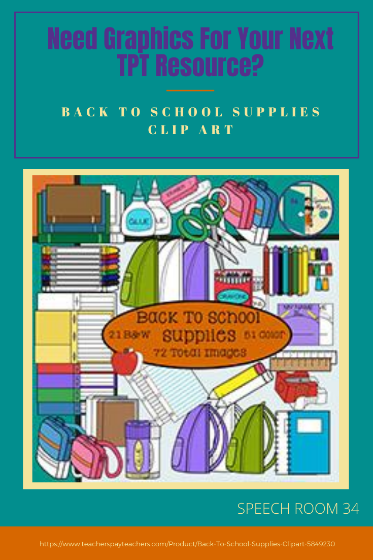 School Supply Clipart Set for Decor or TPT