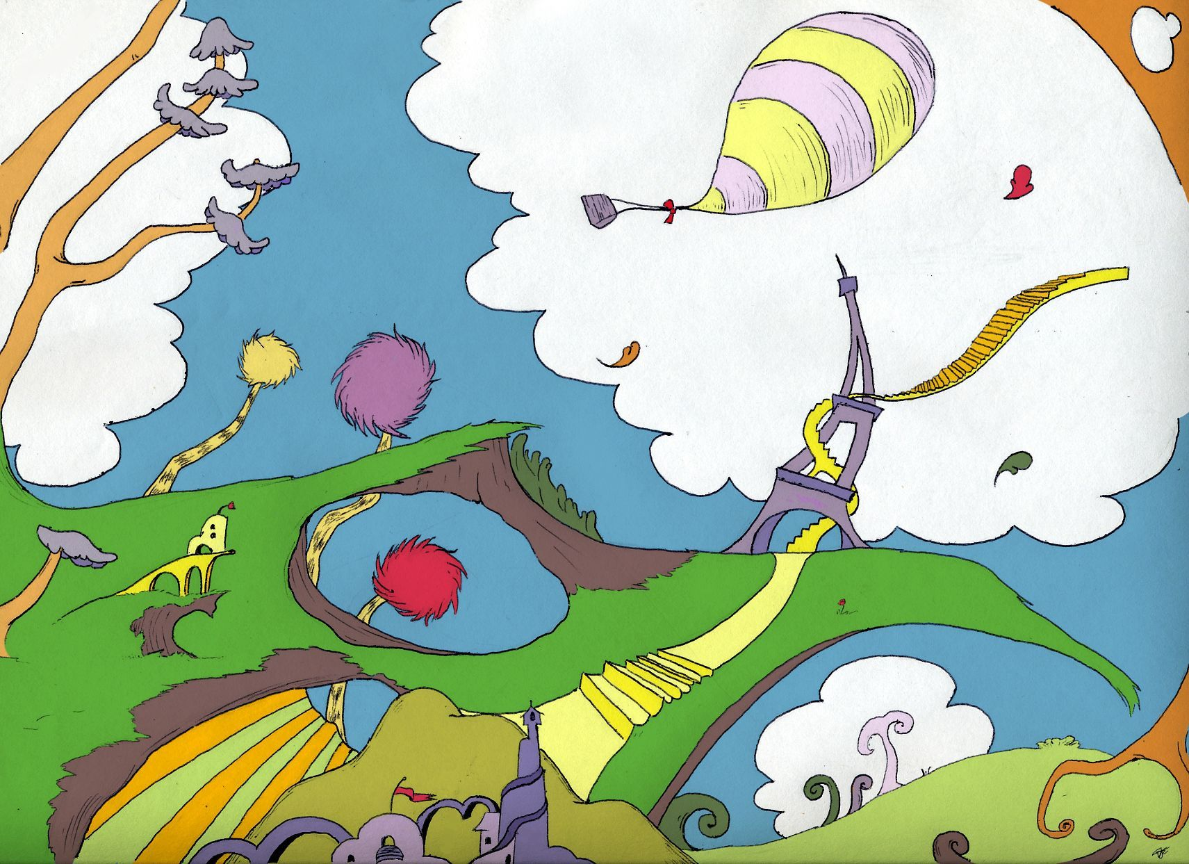 I had to draw a dr seuss inspired landscape for art class - Dr seuss wallpaper ...