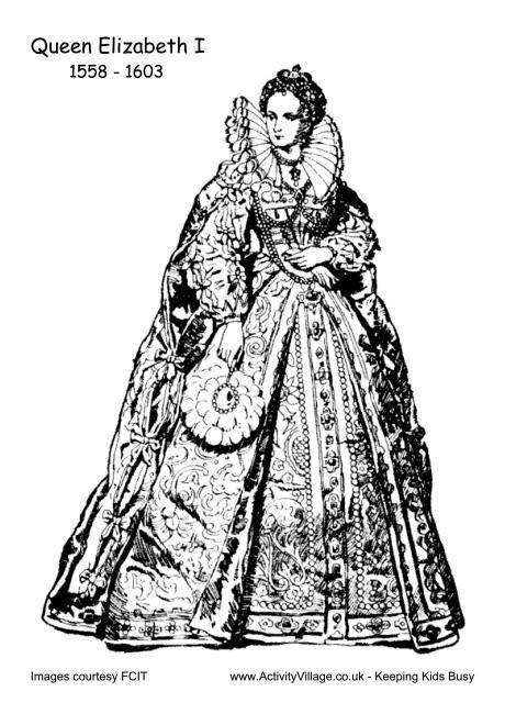 Elizabeth I Colouring Page 2