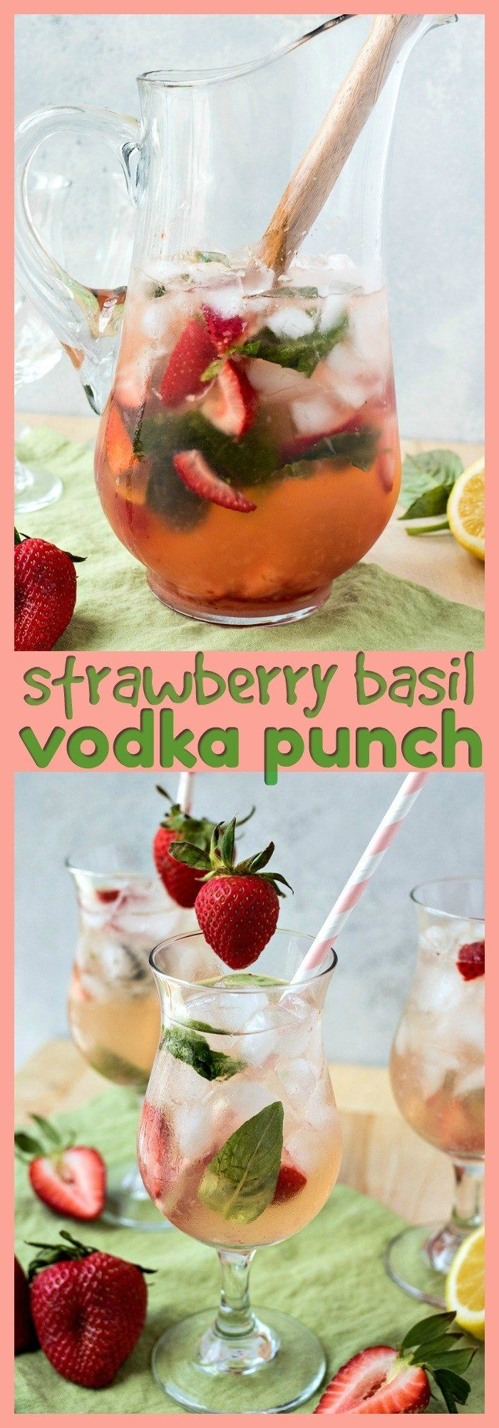 Strawberry Basil Vodka Punch - CPA: Certified Pastry Aficionado