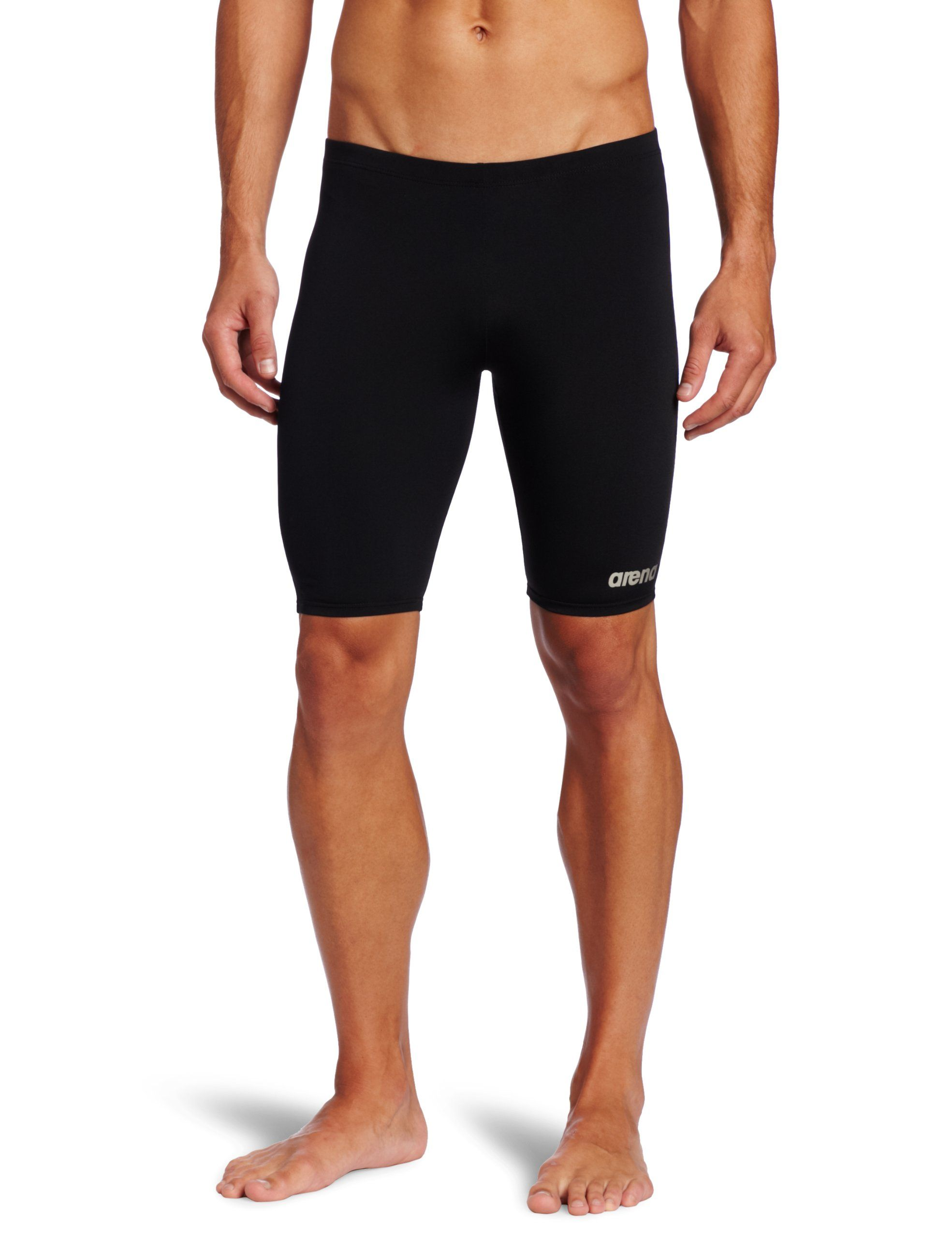157ac135f3 Arena Men's Board Race Polyester Solid Jammer Swimsuit - Black/Metallic  Silver,32.