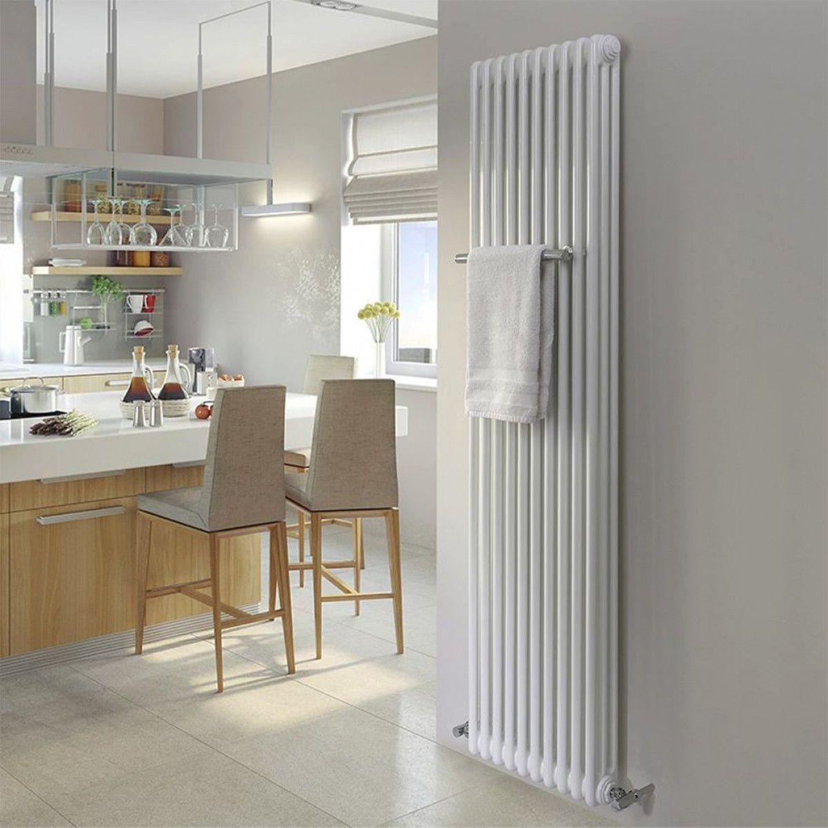 Standing tall at 1802mm the mhs multisec vertical wall - Designer vertical radiators for kitchens ...