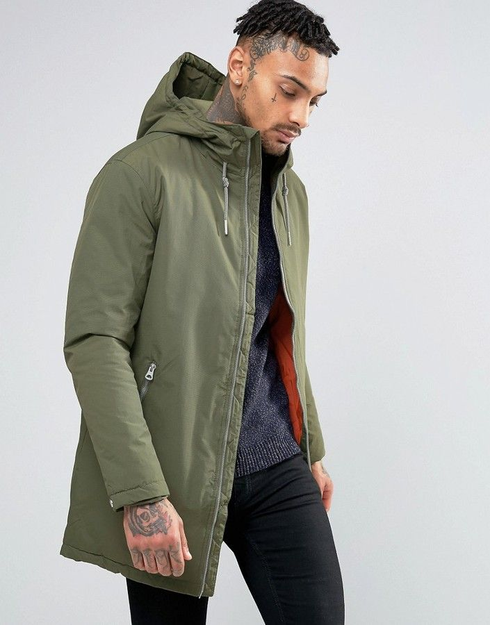 Pull Bear Parka With Hood In Khaki Mens Spring Jackets Pull And Bear Men Fashion Trends Online