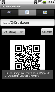 Other apps can easily use QR Droid's services using Intents. More info can be found here: http://qrdroid.com/android-developers.php#