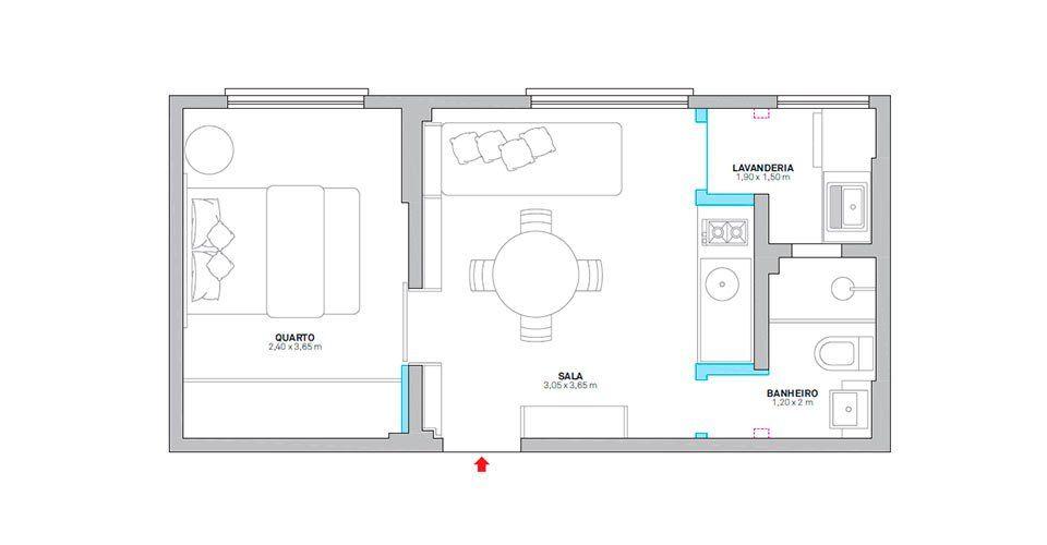 Planta Apartamento Pequeno Em 30 M2 Espaco Para Tudo
