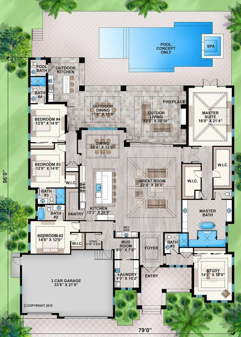 House Plan 207 00080 Florida Plan 4 346 Square Feet 5 Bedrooms 5 5 Bathrooms Florida House Plans House Blueprints House Floor Plans