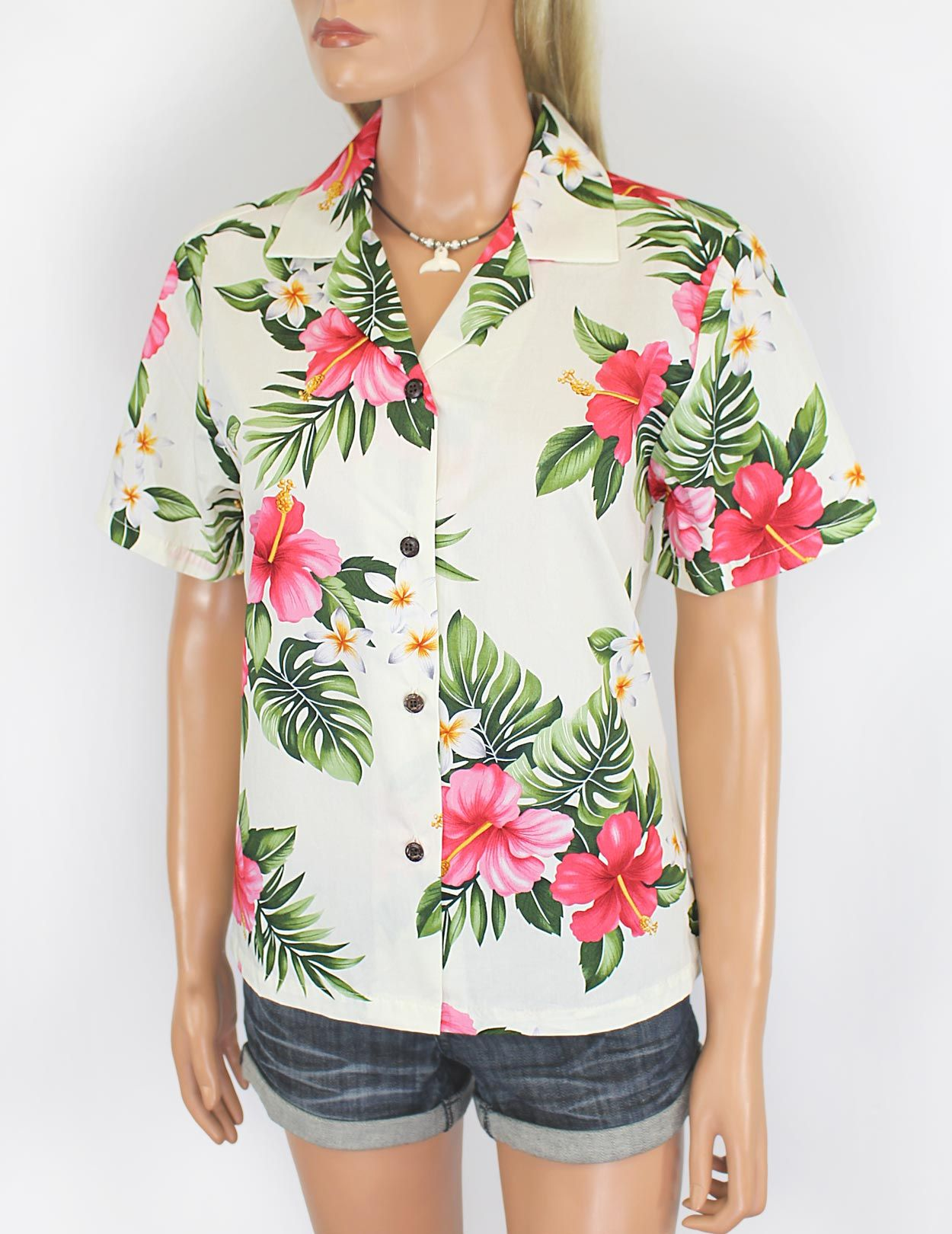 Check out the deal on Tropical Plumeria Hawaiian Shirt for Women at ...