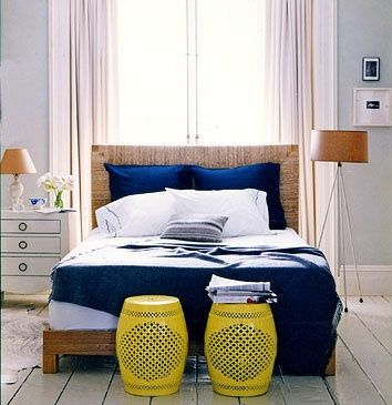 From Domino Navy Blue Grey And Yellow Bedroom
