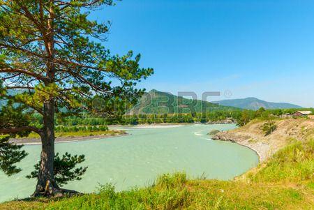 turbid water of the mountain river Katun in Altay edge